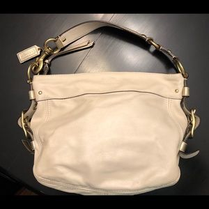 Coach Zoe White & Gold Leather Shoulder Hobo Bag